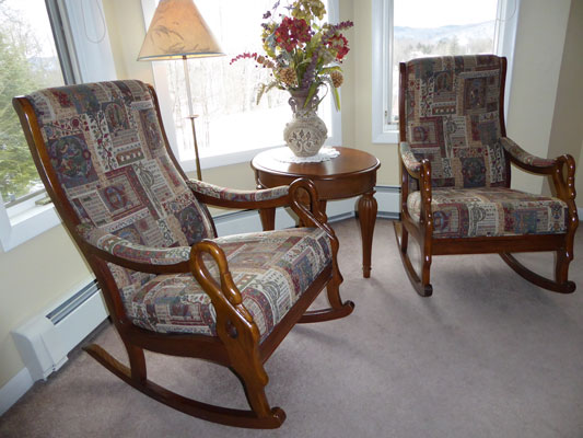 Rocking chairs in bay window in Room 8